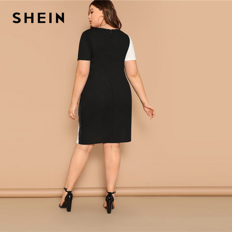 Image 2 - SHEIN Plus Size Fringe Front Two Tone Pencil Dress Women Summer Weekend Casual Short Sleeve Slim Colorblock Midi Dress-in Dresses from Women's Clothing