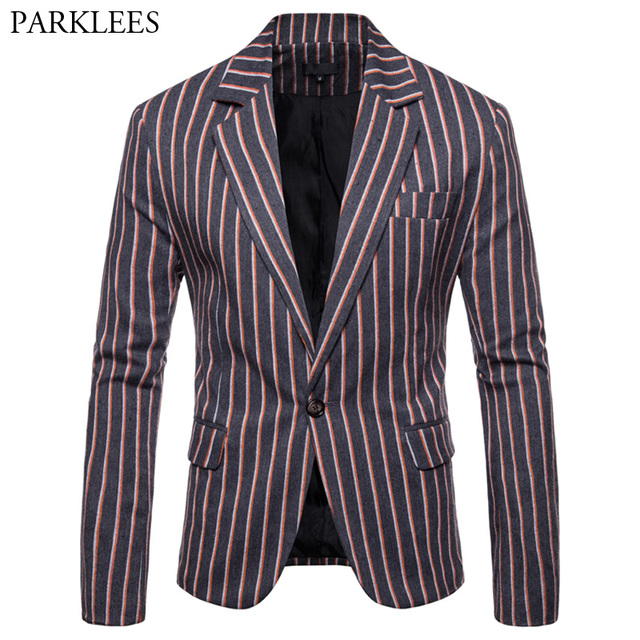Hipster Striped Suit Men 2018 New Arrival Single-breasted Blazer Jacket Mens England Style Slim Fit Marriage Jaquetas Homens 3XL