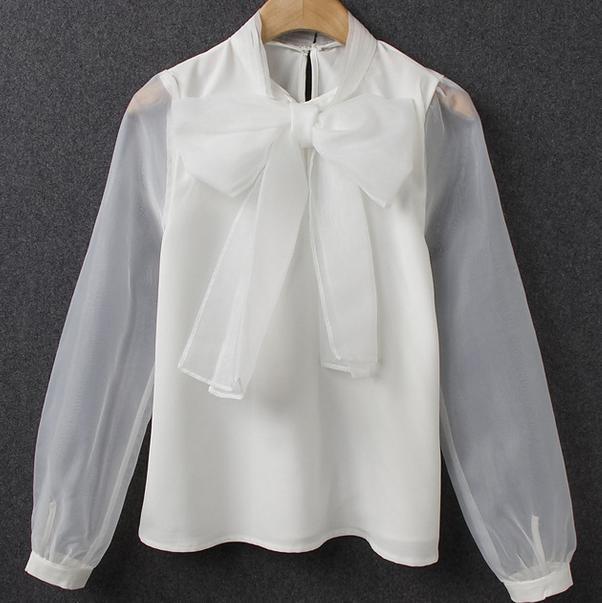nuovo stile 0dbf3 509ff US $17.51 15% di SCONTO|Nuovo arrivo Elegante Signora arco organza  camicetta cucitura camicia bianca a maniche lunghe-in Camicette e gonne da  ...