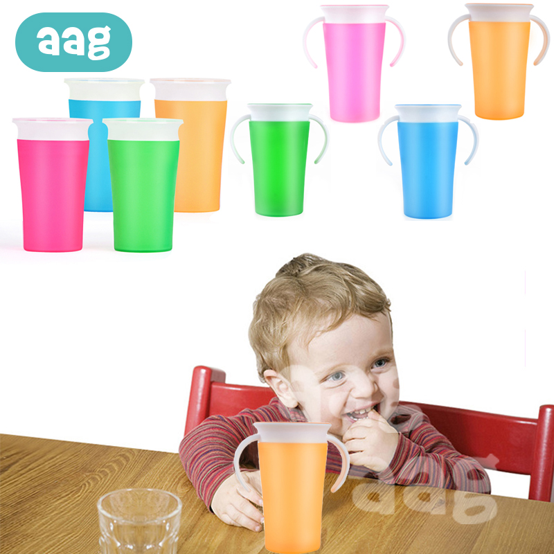 AAG Baby 360 Degree Cups Children Learning Drinking Cup BPA Free PP Leak-Proof Magic Cups With Handle Baby Water Bottle Cup *