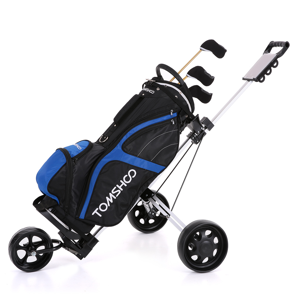 Tomshoo Golf Cart Foldable 3 Wheels Push Aluminum Pull With Footbrake System Bag Club Fold Wheel Trolley In From Sports