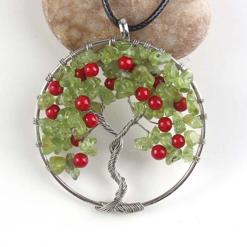 Kraft-beads Silver Plated Cherry Red Beads Pendant Natural Olivine - Fashion Jewelry - Photo 2