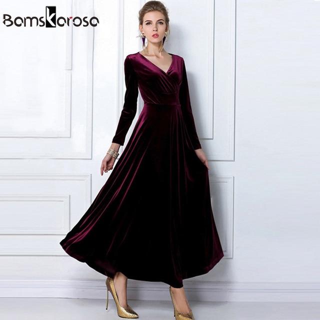 0a1da68a1625 2018 Winter Women Vestidos Plus Size Velvet Dress Long Sleeve Maxi Dress  Evening Vintage Party Long Dress Black Blue Green Red