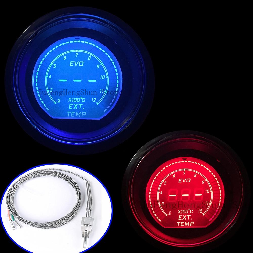 2 дюймов 52 мм EVO выхлопных газов Температура Датчик Цельсия цифровой красный и синий светодиод EXT Temp метр 12 В Автомобильные приборы с сенсор