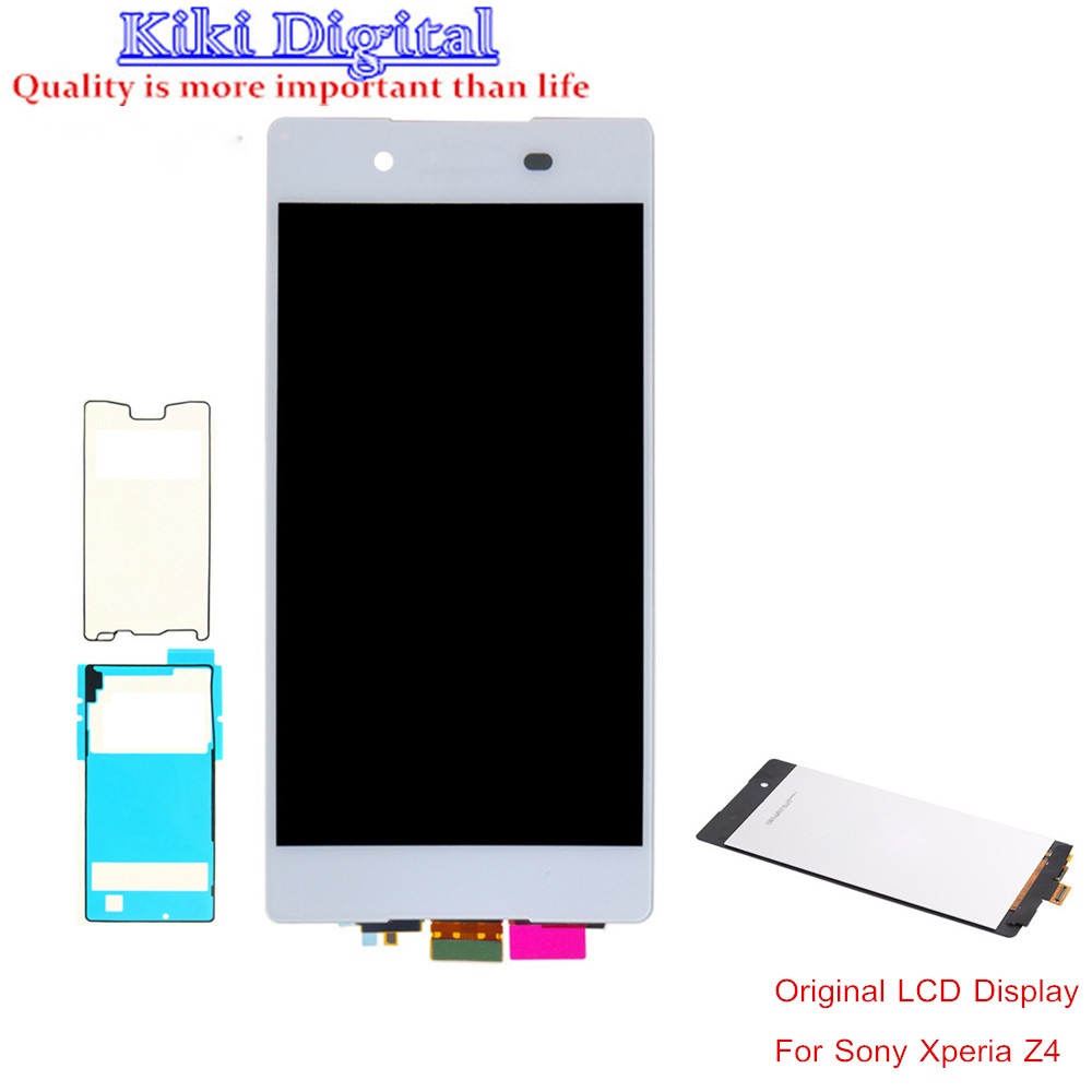 WOJOQ Original Tested LCD For Sony Xperia Z4 Z3+ LCD Screen Digitizer Assembly with adhesiver Black White Free shipping