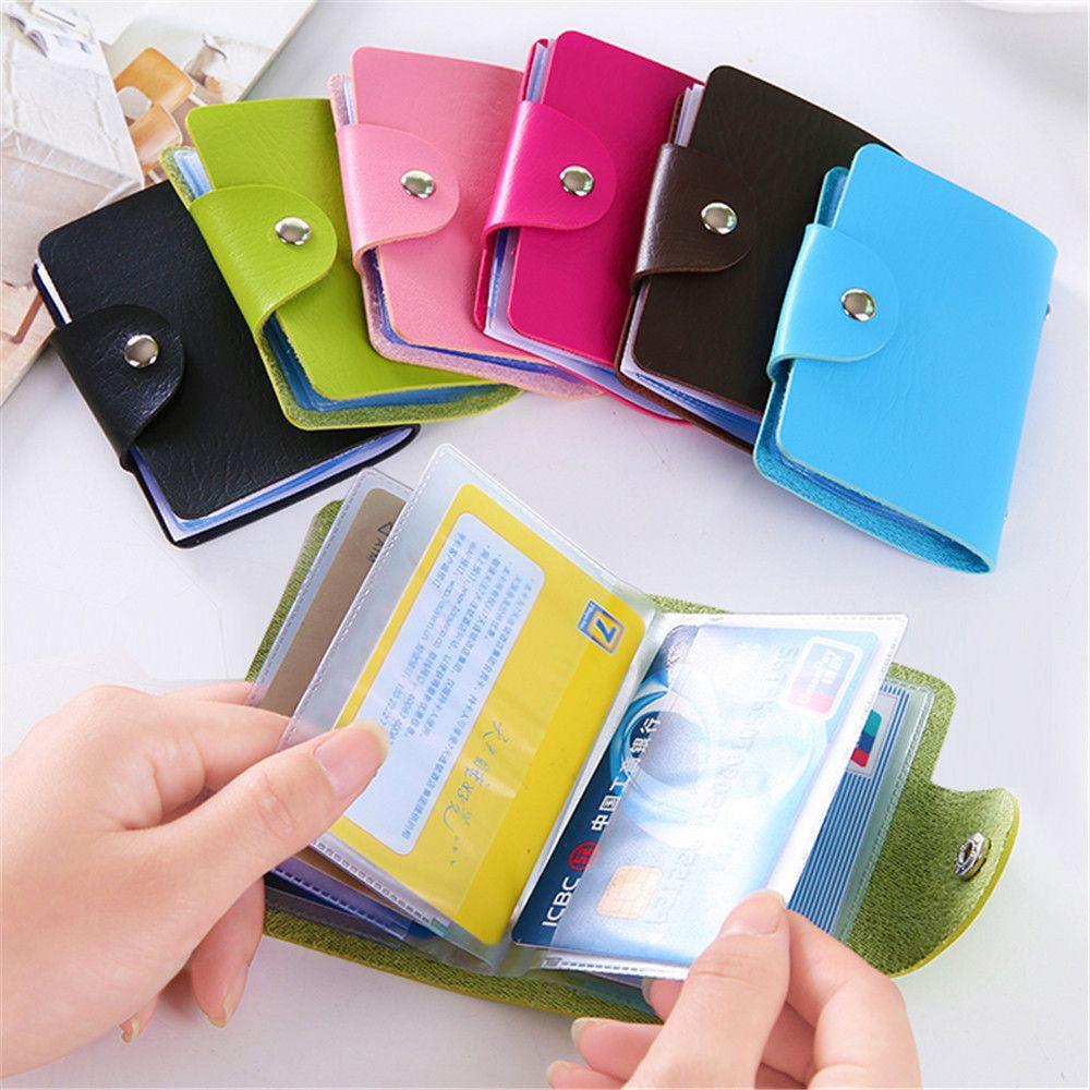 1pc PU Function 24 Bits Business Card Holder Credit Card Holder Solid Color Card Case Business ID  Photo Card  Korea Organizer