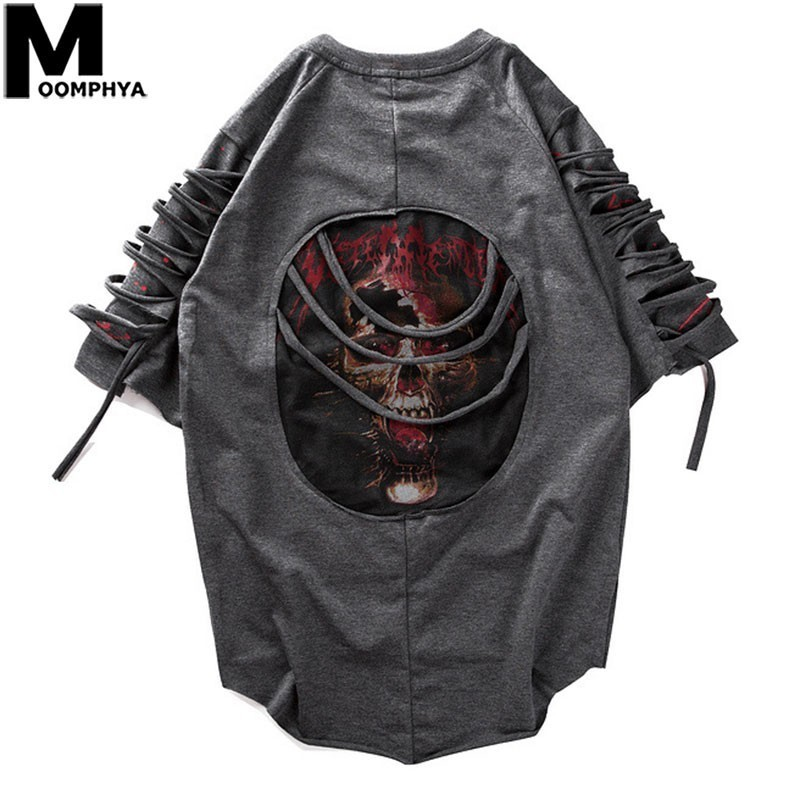 Moomphya 2019 New Ripped Holes Short Sleeve T-shirt Men Streetwear Hip Hop Ribbon Funny Tshirt Print Skull Summer T Shirt