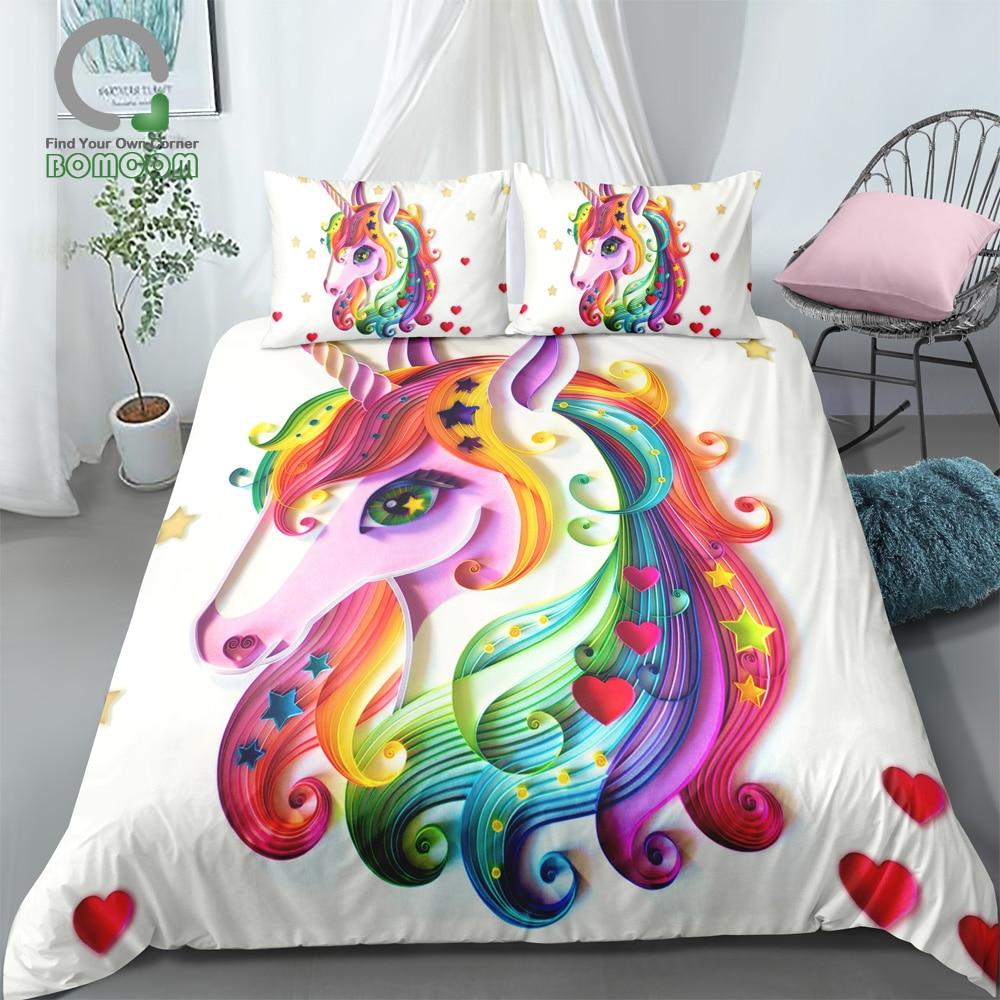 BOMCOM 3D Impresión Digital Arco Iris colorido dibujado a mano Floral unicornio cama conjunto 100% microfibra blanco-in Juegos de ropa de cama from Hogar y Mascotas on AliExpress - 11.11_Double 11_Singles' Day 1