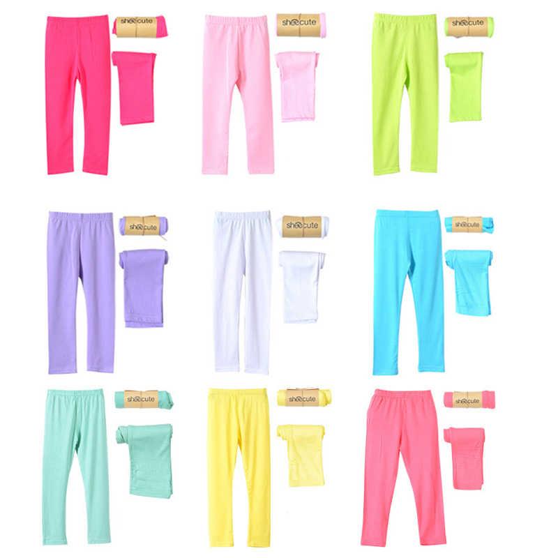 Dziewczyna spodnie miękkie elastyczne modalne bawełniane legginsy dla dzieci cukierki kolor dziewczyny spodnie obcisłe spodnie jednolity kolor 2-13Y spodnie dziecięce