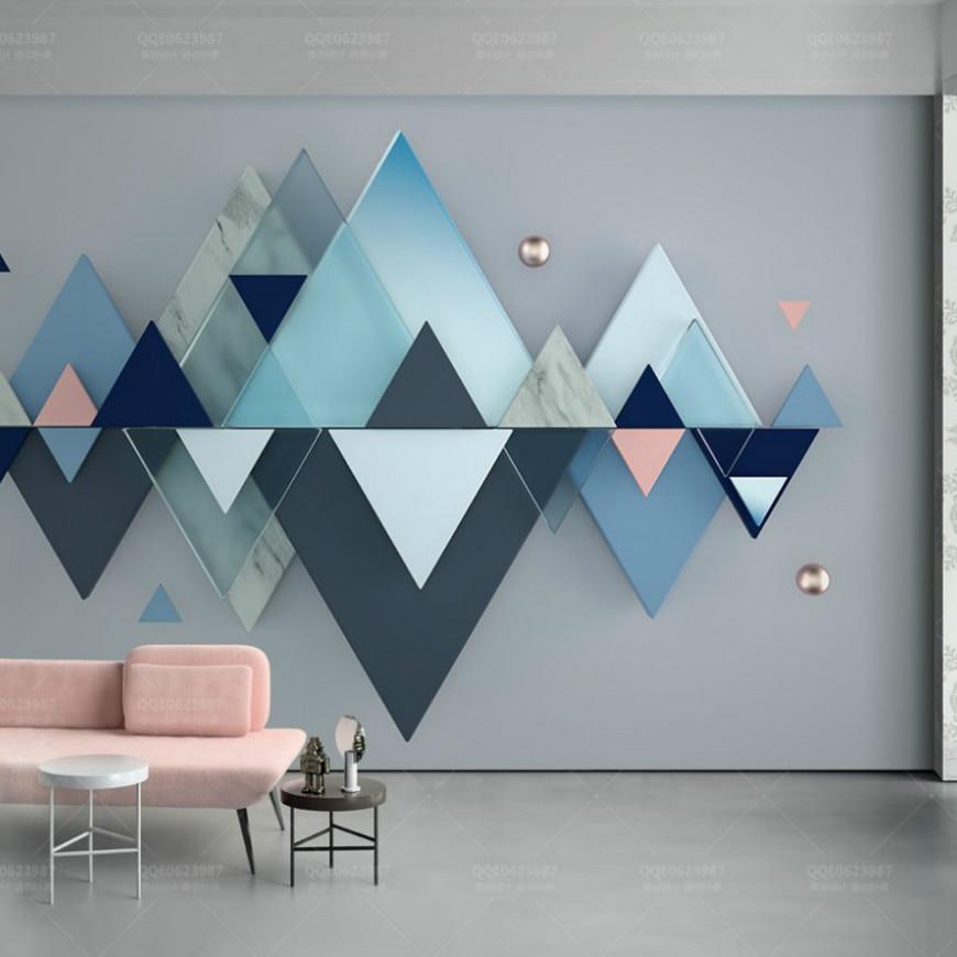 3d Landescape Mural Wallpaper Free Shipping Custom Photo Triangle Geometric Pattern