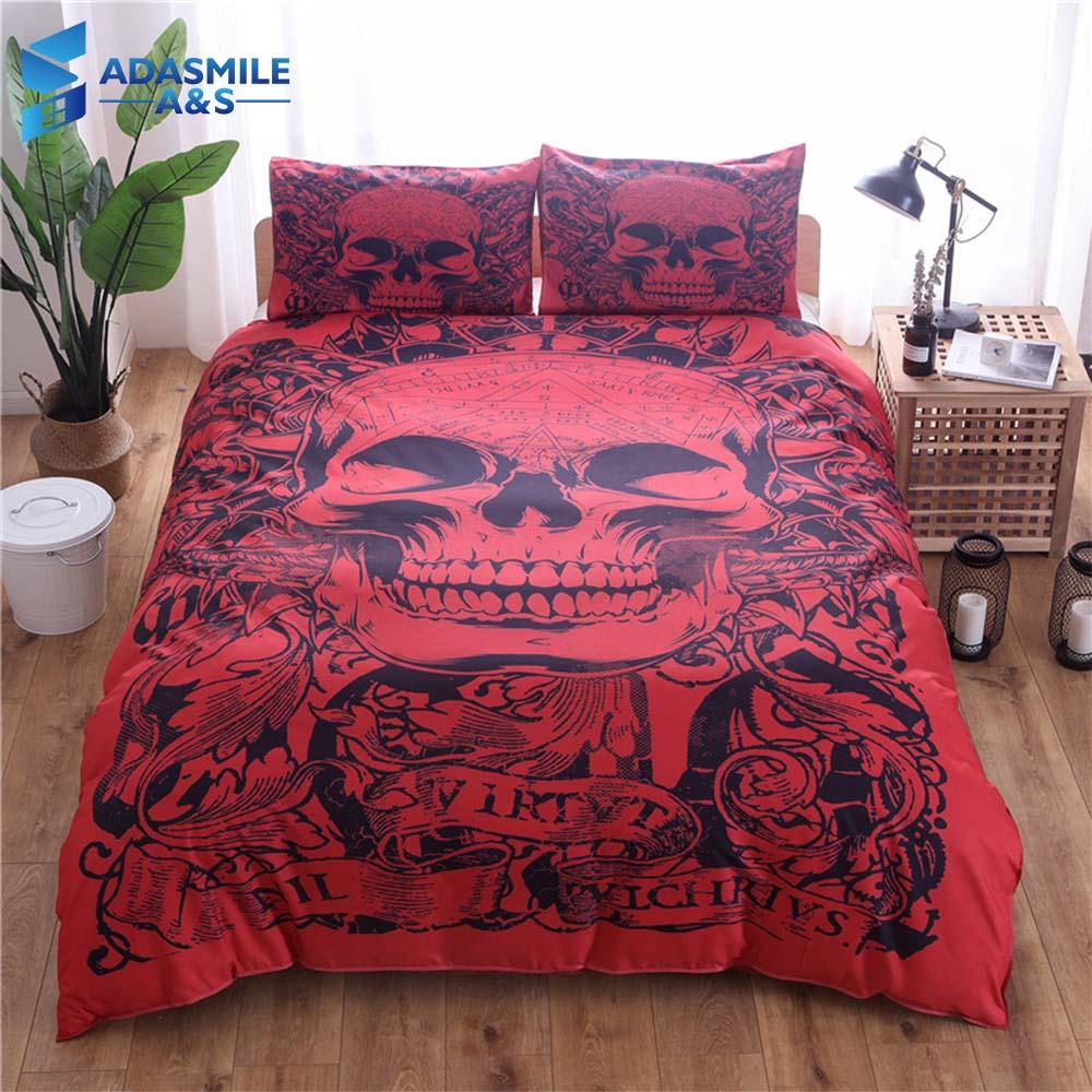 Хэллоуин террор череп постельных принадлежностей постельное белье наволочки мягкие удобные нас король нам двойной красный одеяло постель...