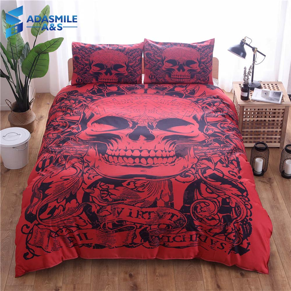 Halloween Bettwäsche Halloween Terror Skull Printed Bedding Linens Pillowcases Soft Comfortable Us King Us Double Red Comforter Bed Duvet Cover Set In Bedding Sets From
