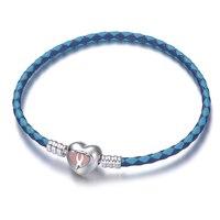 De Calidad superior Diseño Original Love Forever Esmalte Rosado 925 De Plata Doble Corazón Pulsera Cuero Cierre