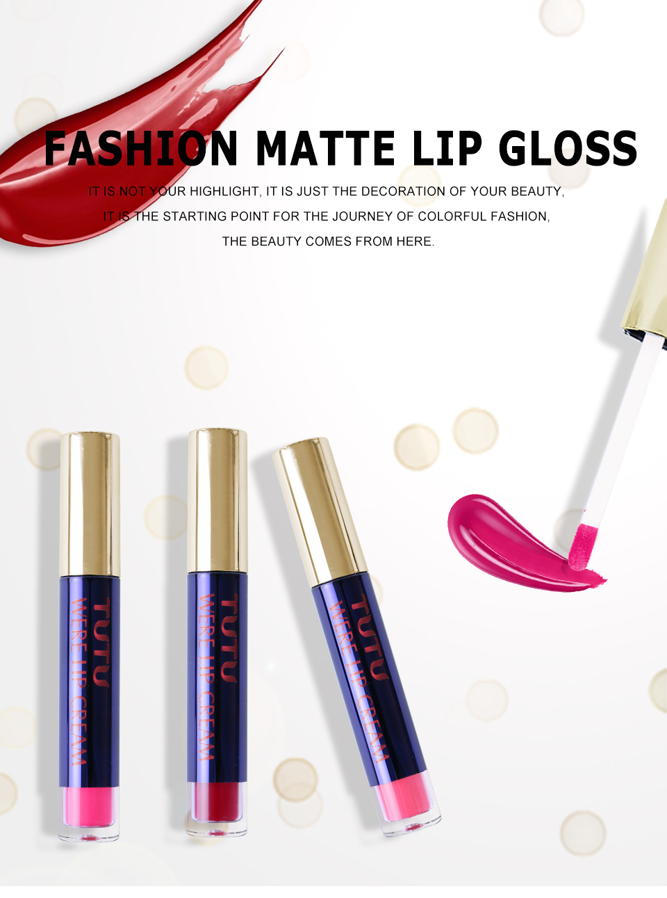 Professional Lip Makeup Matte Lip Gloss Velvet Red Lipstick Liquid Tint Waterproof Moisturizer Full Color Lip Gloss Set Make up 7