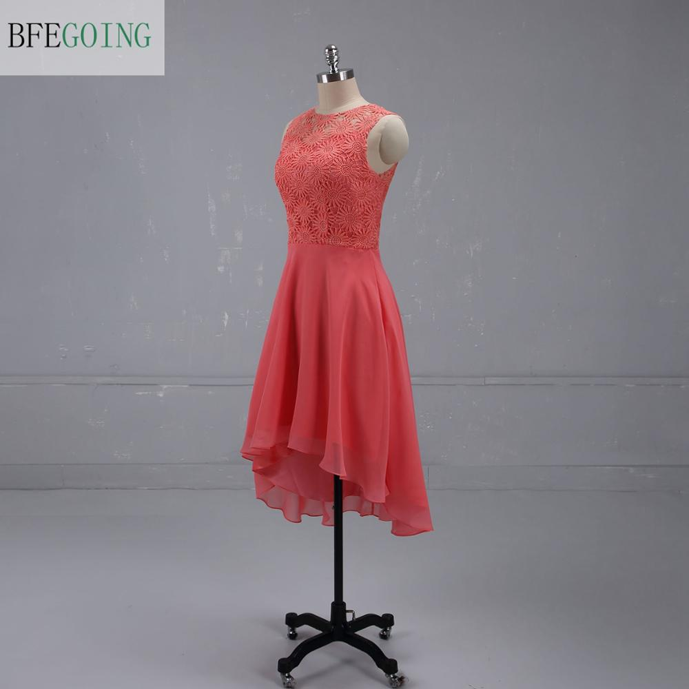 Chiffon Lace Knee-Length Formal   Bridesmaid     Dress   Scoop Sleeveless Real /Original Photos Custom made