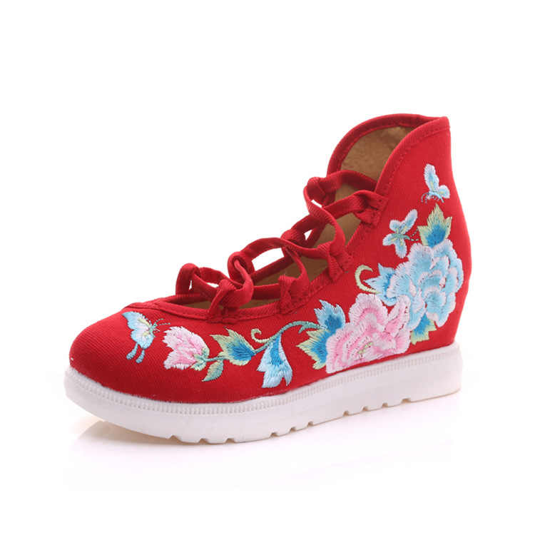 """2020 Bandhnu Thêu Đế Phẳng Retro Phong Cách Trung Hoa Bằng Phẳng Ban Giày Nữ Mujer """"Siêu Sao Vải Nền Tảng Giày"""