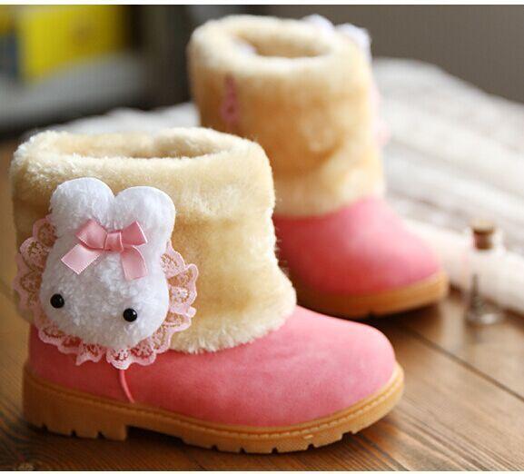 Infantil de la muchacha zapatos de invierno 2015 mullido rosado de la muchacha del invierno zapatos de bebé de invierno conejo blanco niños botas de nieve