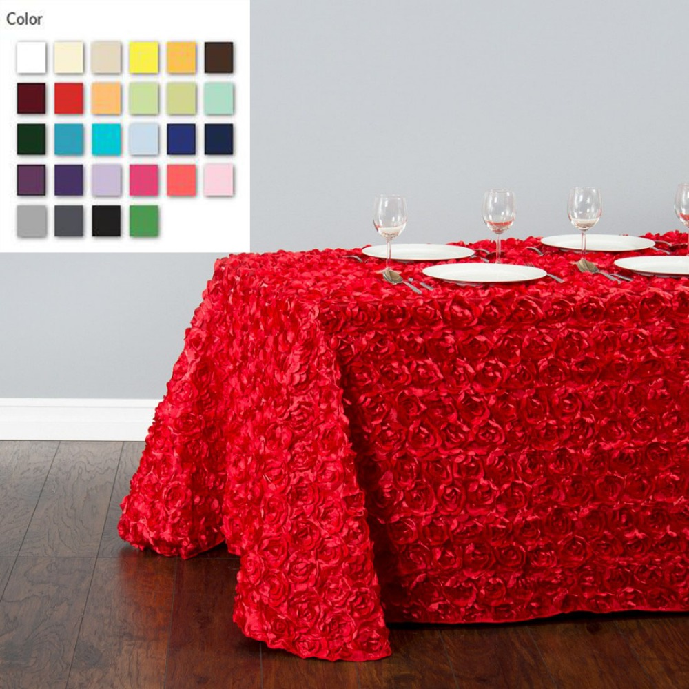 HK DHL Satin-Feel 220*390cm Multi Color Rectangle Polyester Rosette Tablecloth for Wedding, 5/Pack