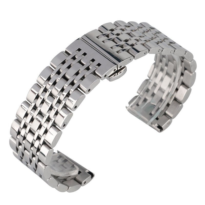 2017 New Stainless Steel Silver Watch Band Adjustable Watch Strap 20mm 22mm 24mm Bracelet Watchbands For Wrist Watch stylish 8 led blue light digit stainless steel bracelet wrist watch black 1 cr2016