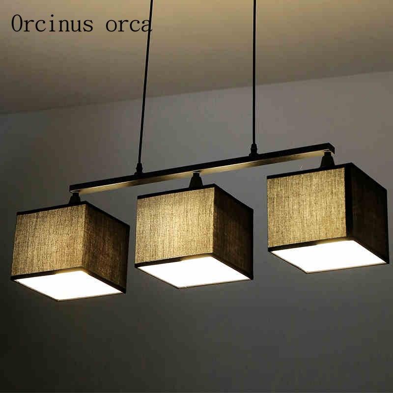 Severská moderní jednoduchá textilie visí lampa restaurace ložnice studovat American Creative lustr doprava zdarma