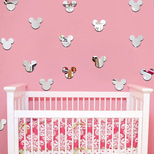 New Mirror Wall Stickers Kids Room Cute Mickey Mouse Crystal Stereo ...