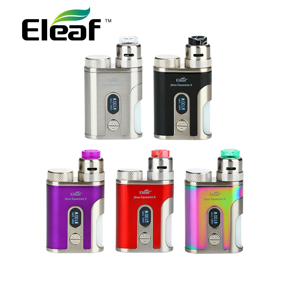 Original Eleaf IStick Pico Squeeze 2 Kit with Coral 2 RDA & 8ml Squonk Bottle Max 100W Output No 18650 Battery Box Mod Vape Kit original eleaf istick pico squeeze 2 kit 4000mah battery with coral 2 rda