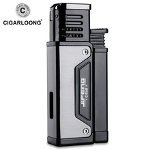 Free ship Jet Lighter Gas Torch Flat Windproof Metal Cigar Butane with punch JF-109