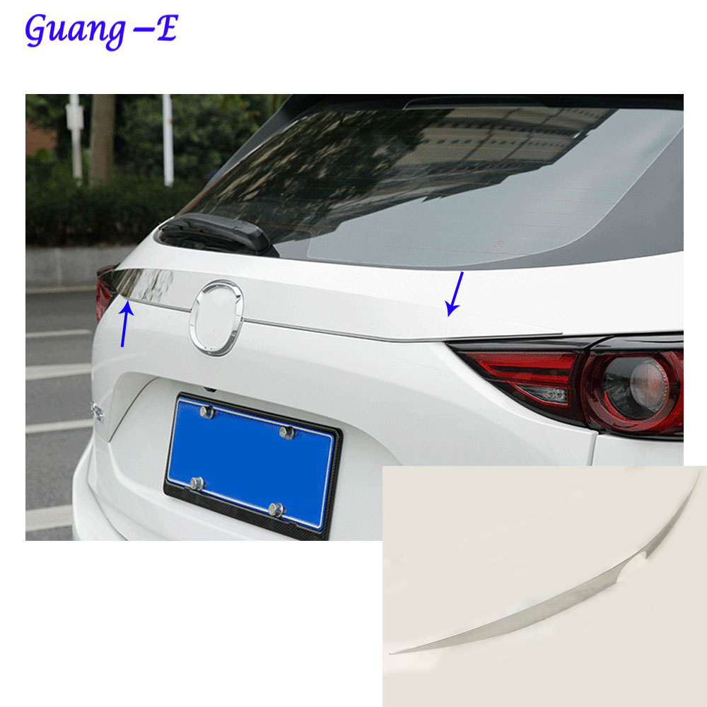 Car styling cover detector Stainless steel Rear door Tailgate frame plate trim lamp parts For Mazda CX-5 CX5 2nd Gen 2017 2018 car styling cover detector stainless steel inner built rear bumper protector trim plate pedal 1pcs for su6aru outback 2015