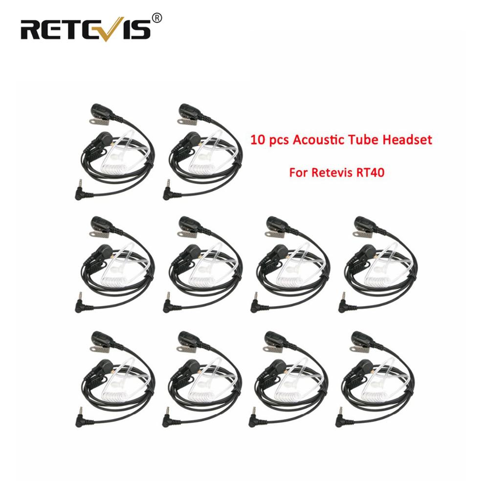 10pcs Wholesale Retevis Walkie Talkie Earpiece PTT Mic Acoustic Tube Retevis RT40 RB15 Headset 3.5mm 1Pin For YAESU For VERTEX