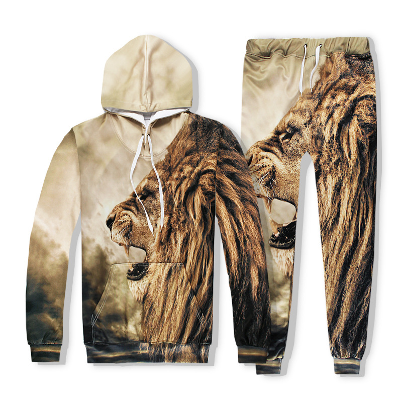 Mens 2017 Sets 3D Print Animal Lion Fashion Hip Hop Tracksuit Top+Pants Brand Couple Sweatshirt Pullovers Clothing S-2XL R2416