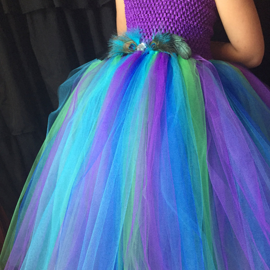 Peacock Flower Girl Tutu Dress Turquoise and Purple Tulle Wedding Dress Kids Purim Party Ball Gown Elegant Princess Prom Dress (2)