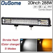 20 polegada 288 w offroad LEVOU Barra de Luz Estroboscópica 4×4 Duplo Cor Combo Caminhão Feixe de Luz Para Auto UAZ Luz de Nevoeiro Luz de Circulação Diurna