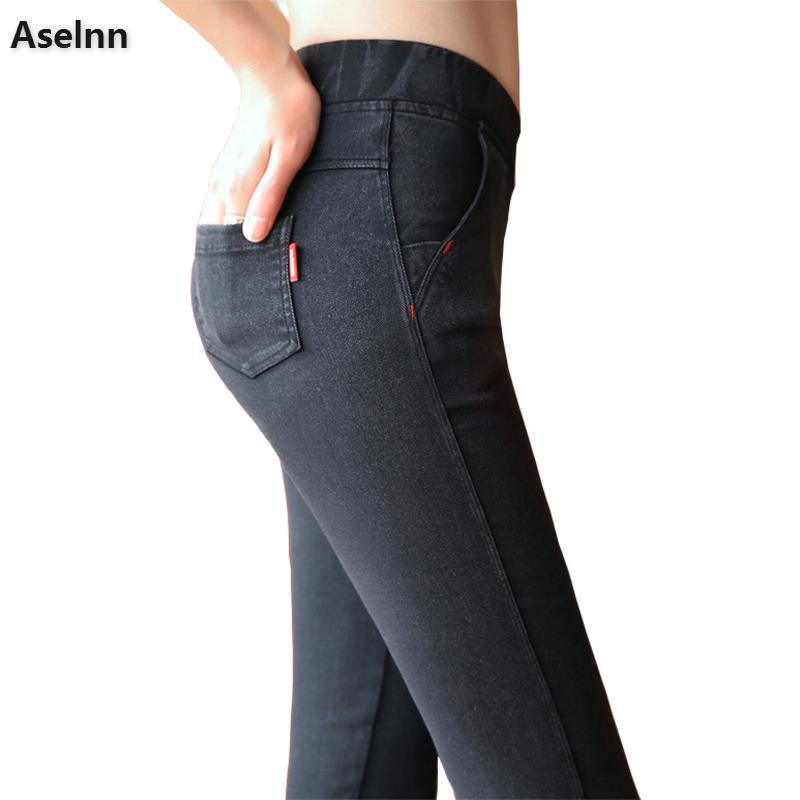Aselnn 2019 Spring New Women Thin Pants High Waist Elastic Casual Skinny Pencil Pants Snow Black Trousers Female Plu Size 3XL