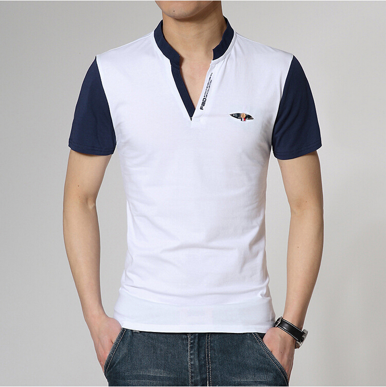 8b8e05d6b7c9 2015 new fashion Men s t shirt V neck mandarin collar Patchwork casual t  shirts for men short sleeve summer men clothing M XXXL-in T-Shirts from  Men s ...