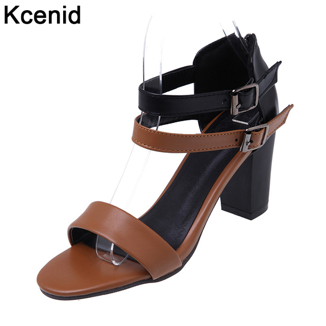 bdd2eacdd31 Kcenid fashion womens sandals summer 2017 women pumps open toe double  buckle strap sandals high heels women shoes big size 33-45