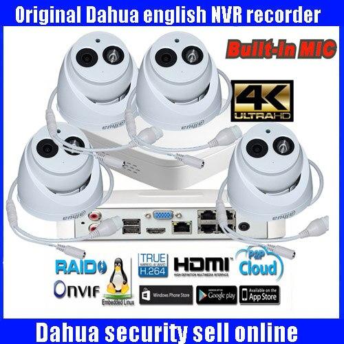 D'origine Dahua 4MP POE IP Caméra DH-IPC-HDW4431C-A Système de Sécurité Caméra Extérieure 4CH 4 K NVR NVR4104-P-4KS2 Kit H.265 Enregistreur