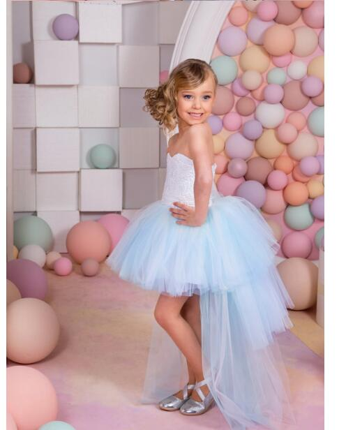 Girls Wedding Formal Dresses 2018 Tailing Gauze Off Shoulder Birthday Ball Gown Flowers Girls Princess Dress Kids Party Dress