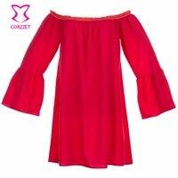 Для женщин Красный шифон Slash Средства ухода за кожей шеи с расклешенными рукавами рюшами с плеча Рубашки для мальчиков одноцветное Цвет вик...