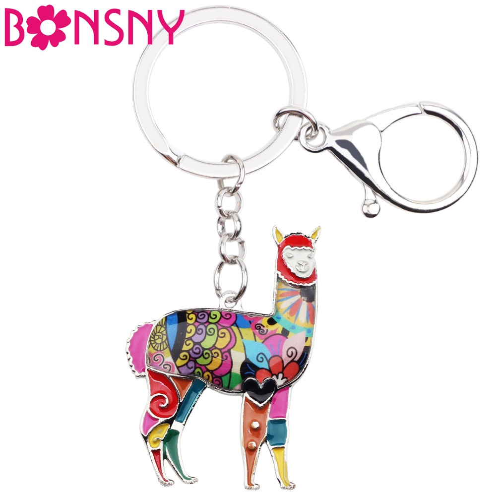 Bonsny Enamel Alloy South American Floral Alpaca Goat Key Chains For Women Bag Charms Keyring Keychains Fashion Jewelry Sheep
