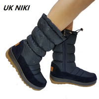 UKNIKI Zip Woman Snow Boots 2018 New Winter Crystal Snow Boots Mid Calf Warm Shoes Thick