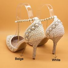 Wedding-Shoes Ankle-Strap Pearl Crystal Pointed-Toe Womens Woman Party 9cm Red/pink