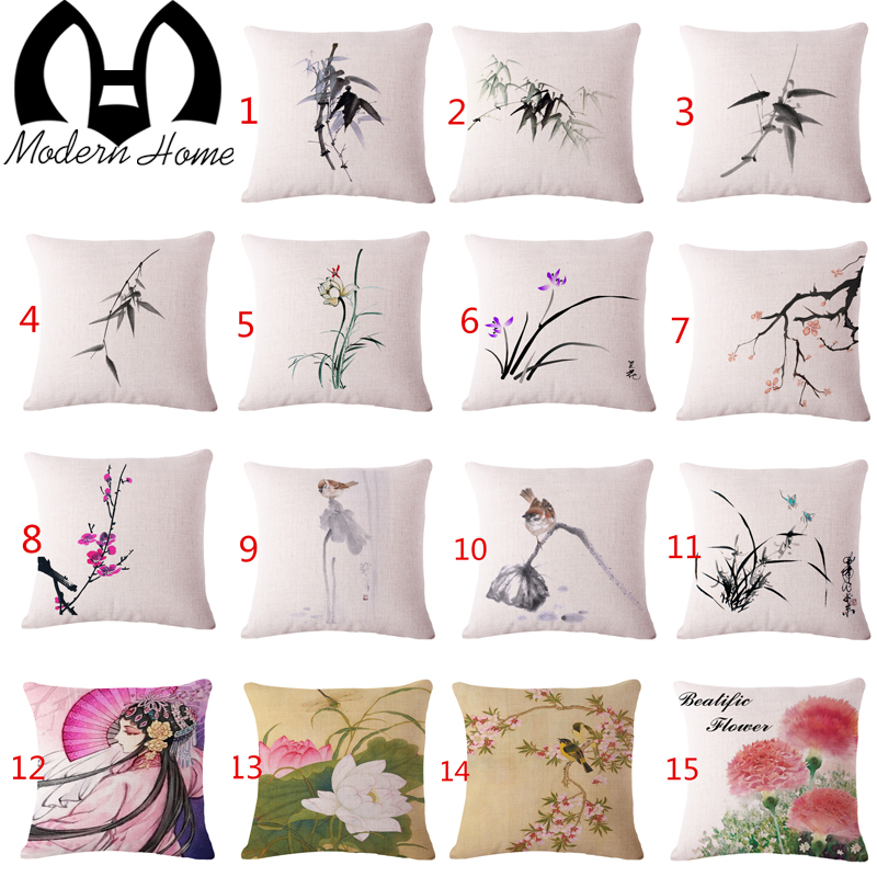 Chinese Ink And Wash Flowers Painting Square Cotton Linen Decorative Sofa  Cushion Covers Home Decor Vintage Pillowcases