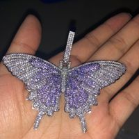 Hip Hop Micro Pave AAA Cubic Zirconia Bling Ice Out Animal Butterfly Pendants Necklaces for Men Rapper Jewelry Gold Silver Black