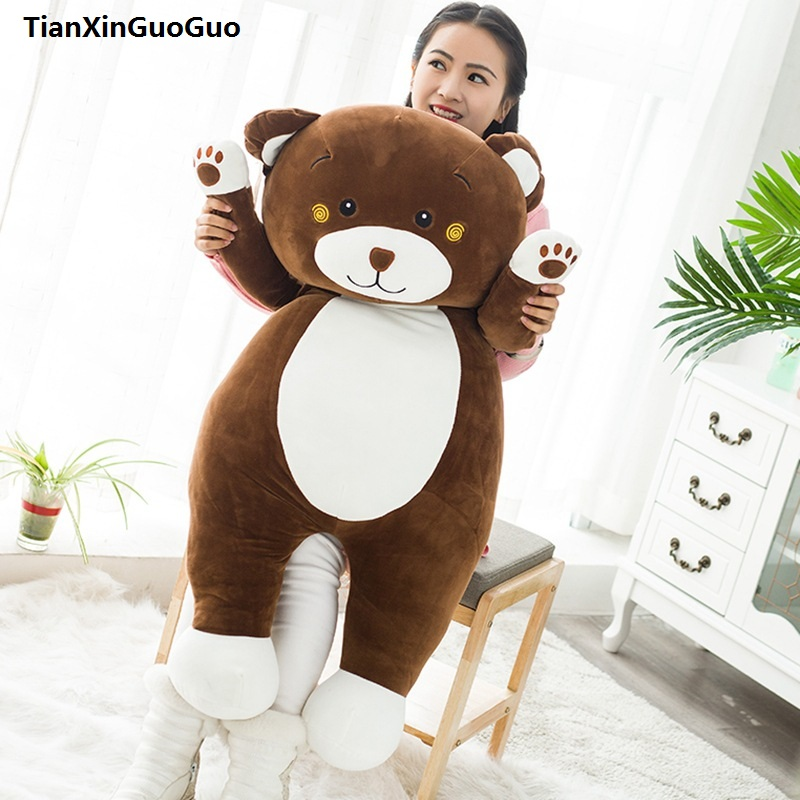 cartoon bear huge 100cm lovely brown bear cotton plush toy very soft toy hugging pillow birthday gift h0780 large 110cm lovely prone brown bear plush toy down cotton soft bear doll throw pillow birthday gift s0397