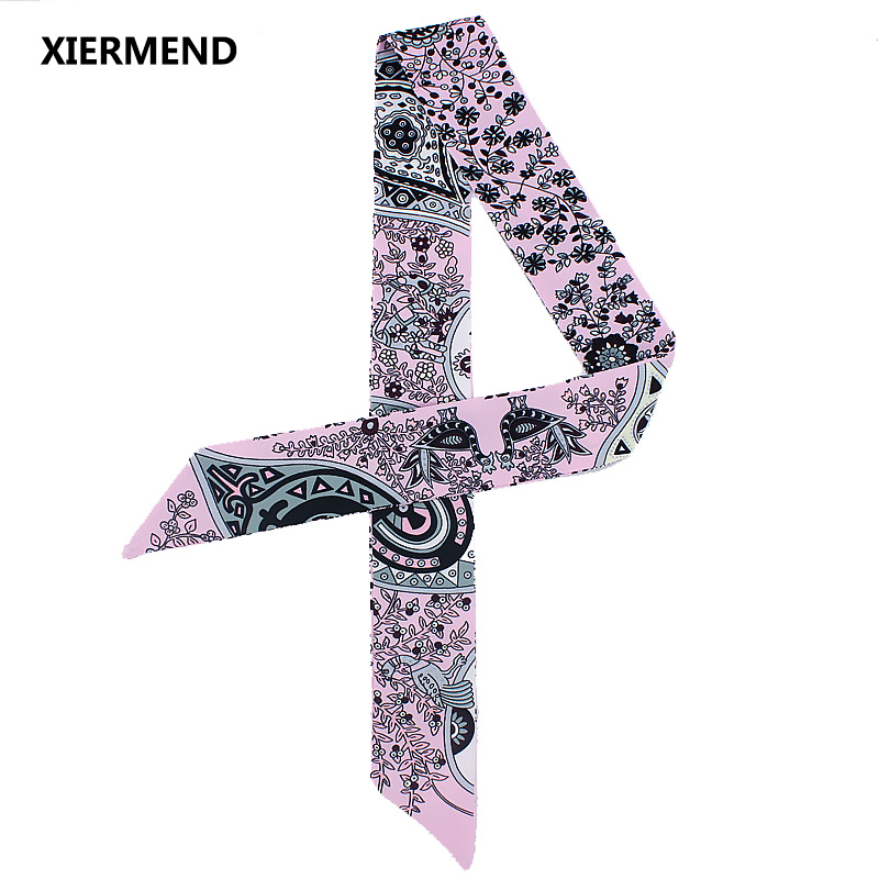 2018 Tree Of Life Fashion Simulation Silk Scarf Women Fashion Bags Handle Ribbon Head Skinny Scarves