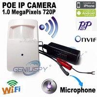 720P PIR Style Motion Detector Covert Mini IP Camera Wifi IP Camera POE Aduio ONVIF P2P Mini Pir Camera IP Mini POE IP Camera