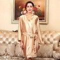 YINSILAIBEI Халат Банный Халат Кимоно Свадебное Невесты Шелковый Атлас Одеяния Сплошной Цвет Свадебные Халаты для Женщин SY058 #35