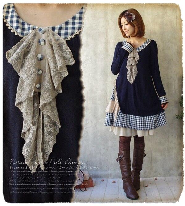 Automne hiver Mori fille Kawaii robe Vintage lâche décontracté coton tricoté Maxi plissé Lolita Brandy Tunique Hippie Boho Faldas