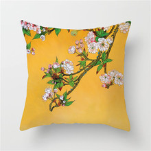Fuwatacchi Flower Painting Cushion Cover Bird Tree Decor Throw Pillows Case Wedding Decoration Home Bed Decrative