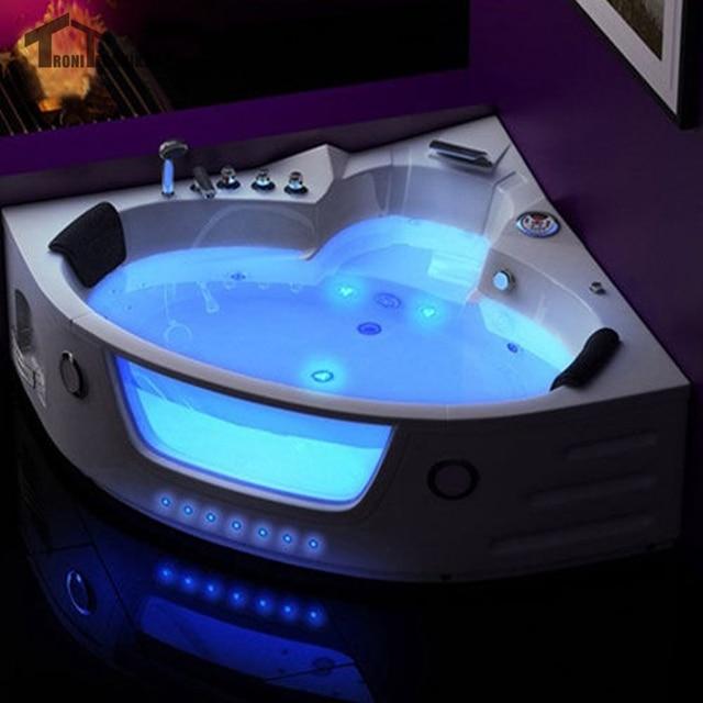 1500mm Led Massage Whirlpool Wall Corner Bath Tub Shower